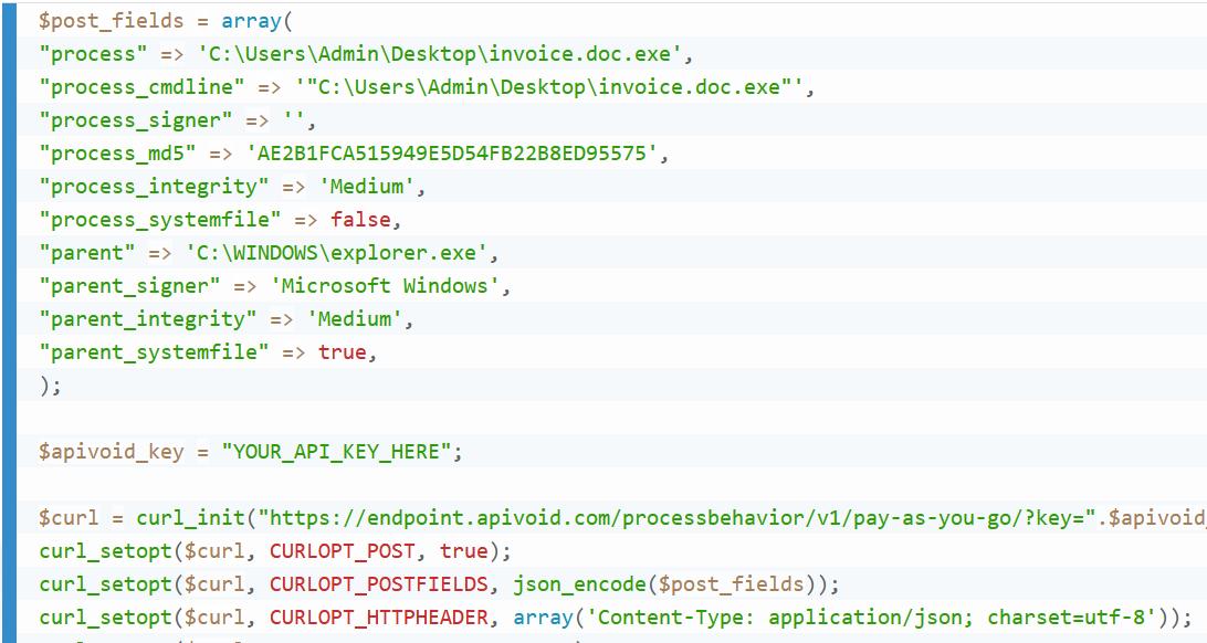 Process Behavior API Example